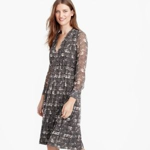 J. Crew silk feather print dress
